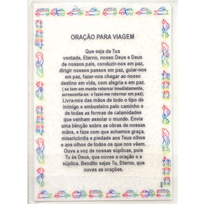 Oração para viagem plastificada pequena - Português e Hebraico