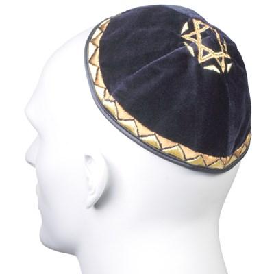 Kip� de Veludo Azul Marinho com Estrela de David grande