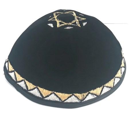 Kipá de Veludo Preto com Estrela de David grande - com bordado em prateado