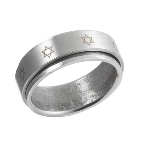 Anel giratório aço estrelas de David - Tamanho 14