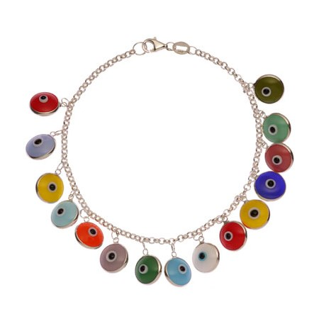 Pulseira de prata olhinhos gregos coloridos