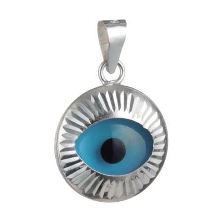 Pingente olho grego prateado móvel