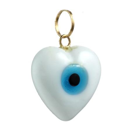 Pingente coração branco com olhinho