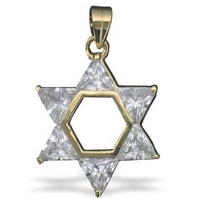 Pingente Estrela de David dourada com pedras - coloridas