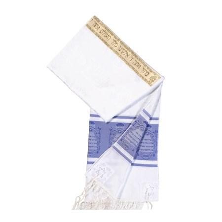 Talit de Seda Simples com Listras Azuis - Tamanho 50x1,50