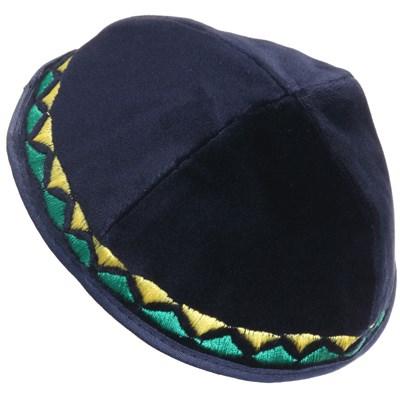 Kip� de veludo azul com bordado em amarelo e verde