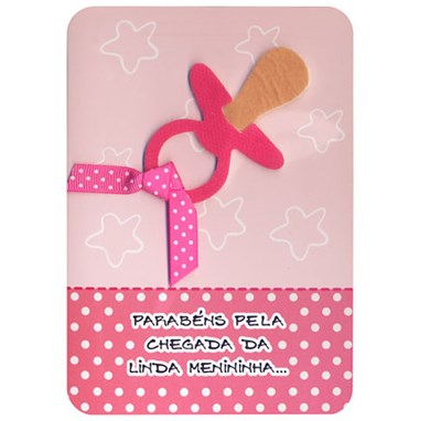 Cartão Nascimento do bebê chupetinha rosa