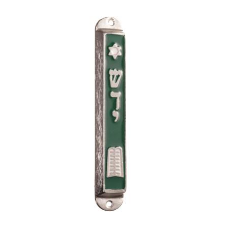 Mezuzá esmaltada - Tábuas da Lei - Verde