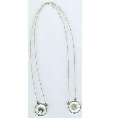 Corrente com dois pingentes de prata e cristal transparente