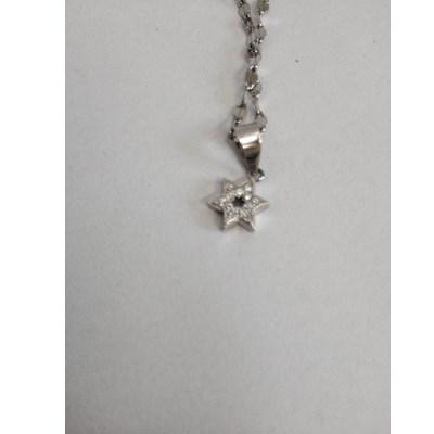 Pingente mini estrela prata e zircônia com corrente