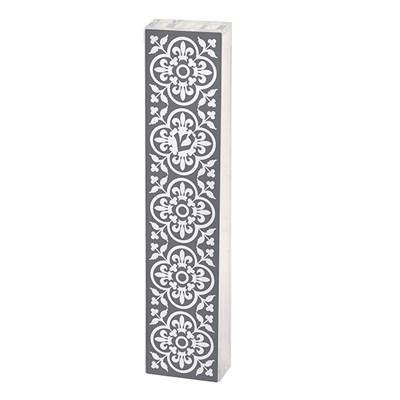 Mezuzá acrílico e papel decorado vazado cinza