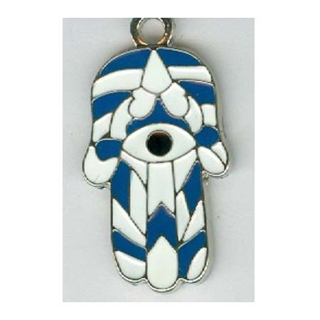 pingente hamsa esmaltada azul e branca