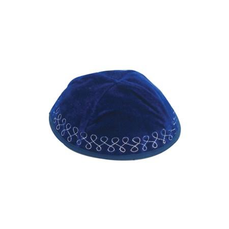 kipá de veludo com enfeite prateado - Azul Turquesa