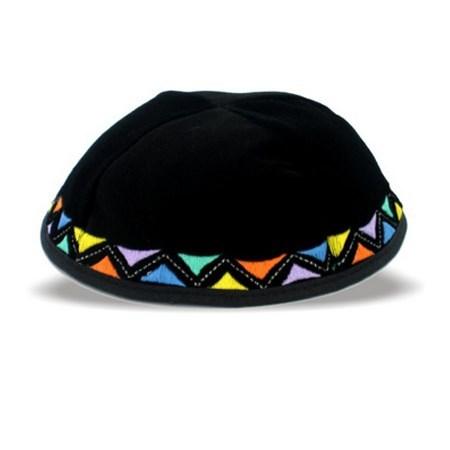 kipá bordado geométrico colorido