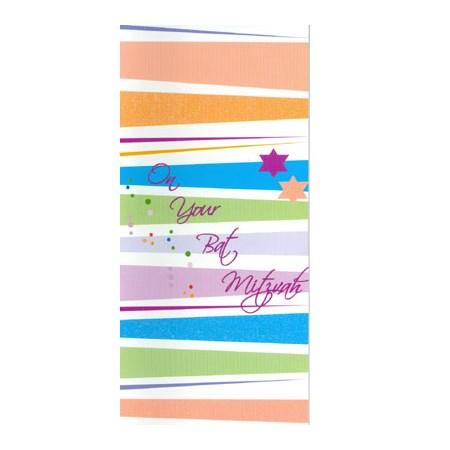 Cartão Bat Mitzvah para dinheiro estrelinhas