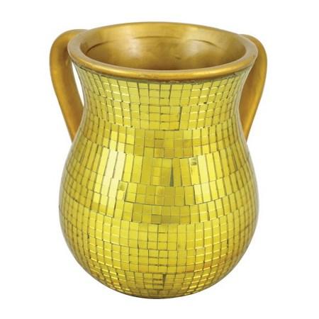 Caneca para Netilat Iadaim de cerâmica dourada