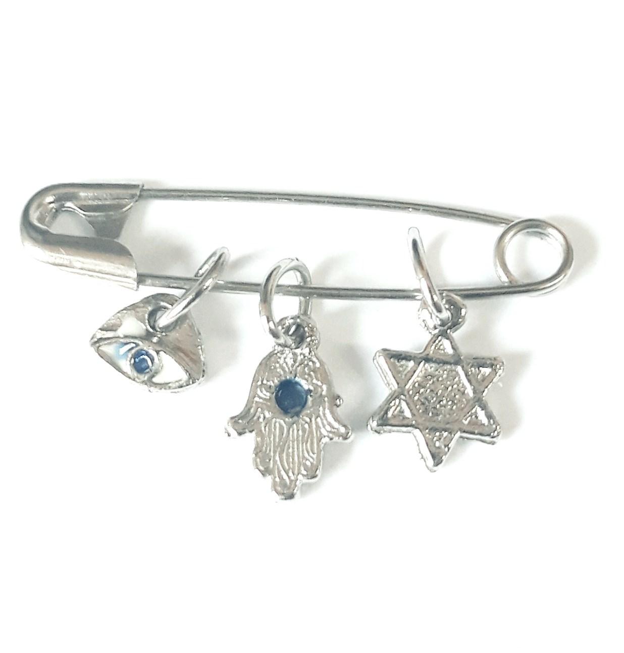 Alfinete com 3 símbolos Judaicos - Prateado