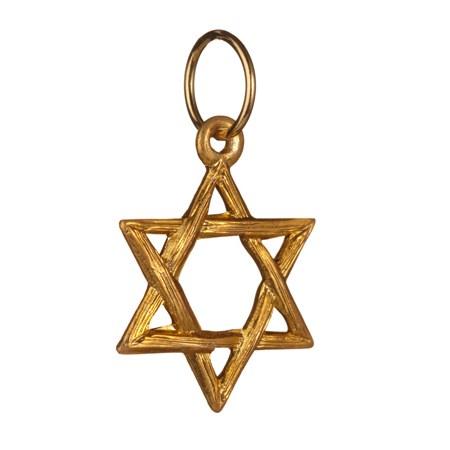 Pingente Estrela de David entrelaçada dourada