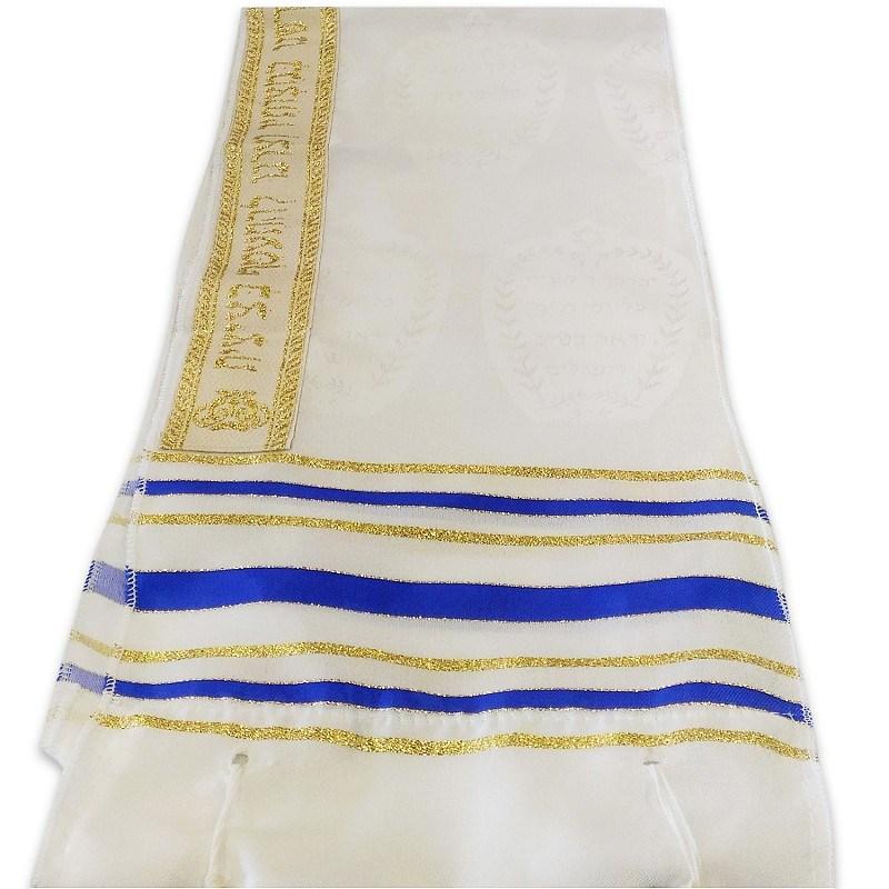 Talit de Seda Luxo com Listras Azuis