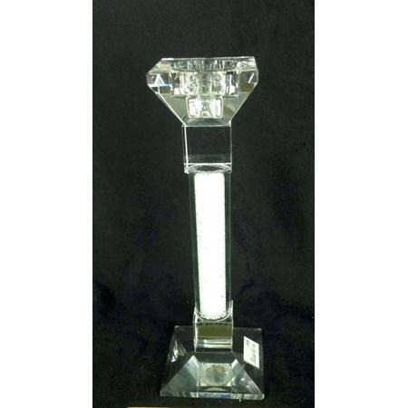 Castiçal de cristal com pedrinhas brancas
