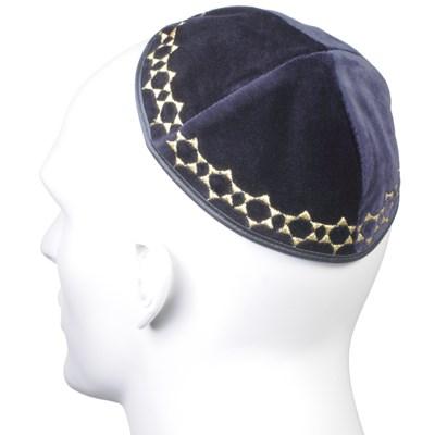 Kip� de veludo azul marinho com Estrela de David pequena - com bordado em prateado