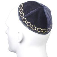 Kipá de veludo azul marinho com Estrela de David pequena - com bordado em prateado