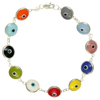 Pulseira Olho Grego de prata - Colorida