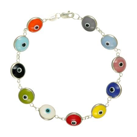 Pulseira Olho Grego de prata - Transparente